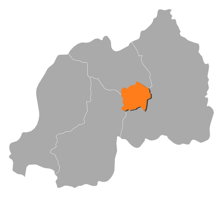 kigali: Map of Rwanda with the provinces, Kigali is highlighted by orange.