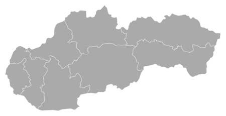 Map of Slovakia with the provinces. Illustration