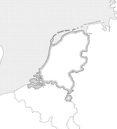Map of Netherlands and nearby countries in black and white, Netherlands is highlighted by a hatching.
