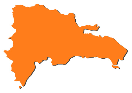 middle america: Map of Dominican Republic, filled in orange. Illustration