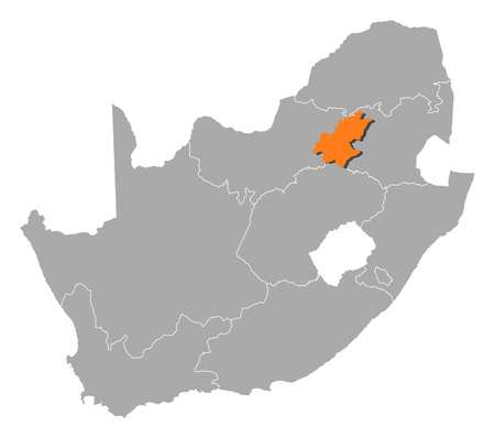 gauteng: Map of South Africa with the provinces, Gauteng is highlighted by orange.
