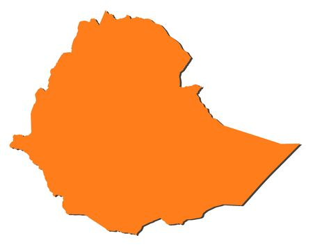 ethiopia abstract: Map of Ethiopia, filled in orange.