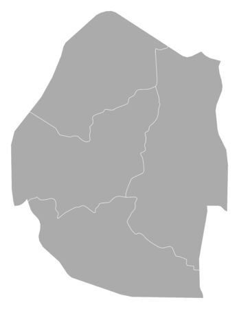 swaziland: Map of Swaziland with the provinces.