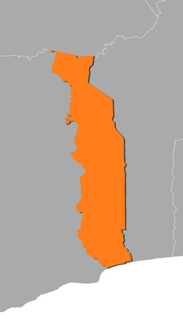 togo: Map of Togo and nearby countries, Togo is highlighted in orange.