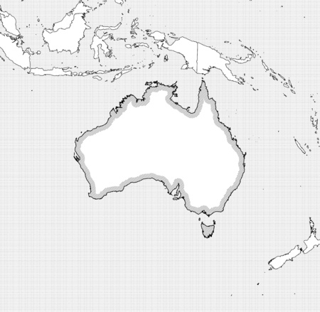 australie: Map of Australia and nearby countries in black and white, Australia is highlighted by a hatching. Illustration