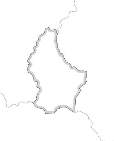 frontiers: Map of Luxembourg and nearby countries in black and white, Luxembourg is highlighted by a hatching. Illustration