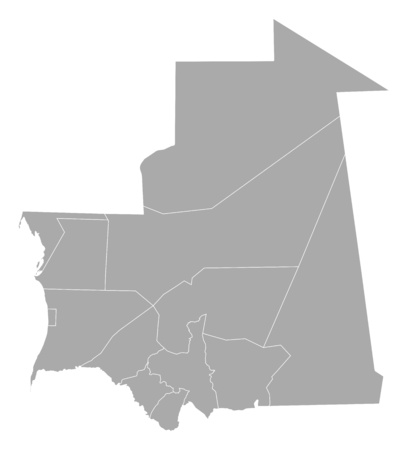 frontiers: Map of Mauritania with the provinces. Illustration