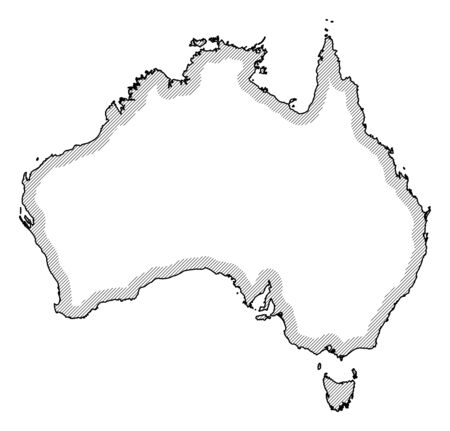 Map of Australia in black and white, Australia is highlighted by a hatching.