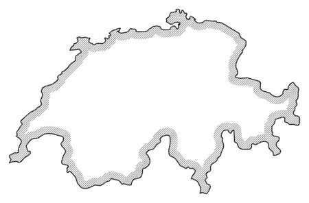 swizerland: Map of Swizerland in black and white, Swizerland is highlighted by a hatching.