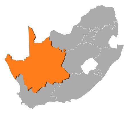 province: Map of South Africa with the provinces, Northern Cape is highlighted by orange.