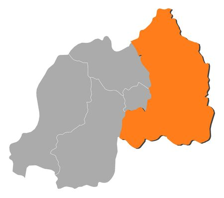 map of rwanda with the provinces north is highlighted by orange rh 123rf com