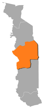republique: Map of Togo with the provinces, Centrale is highlighted by orange.