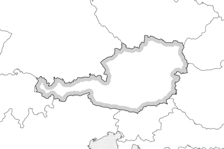 Map of Austria and nearby countries in black and white, Austria is highlighted by a hatching. Illustration