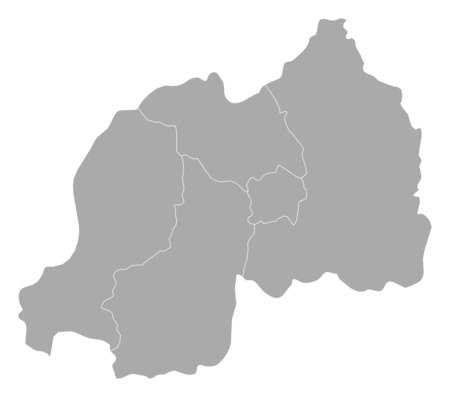 Map of Rwanda with the provinces.