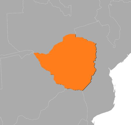 frontiers: Map of Zimbabwe and nearby countries, Zimbabwe is highlighted in orange. Illustration