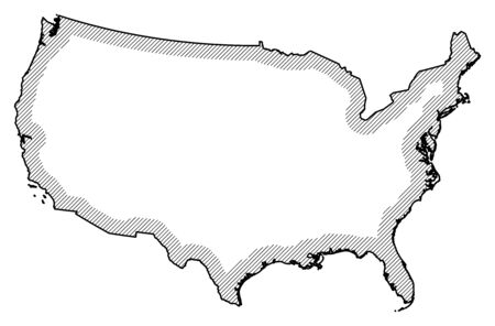 hatching: Map of United States in black and white, United States is highlighted by a hatching.