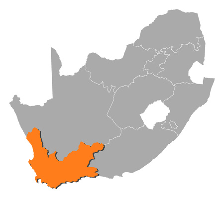 Map of South Africa with the provinces, Western Cape is highlighted by orange. Illustration