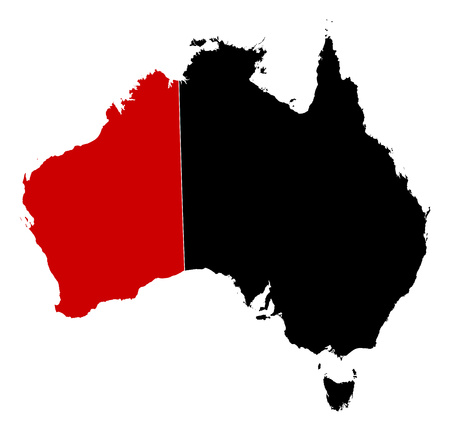 australie: Map of Australia in black, Western Australia is highlighted in red. Illustration