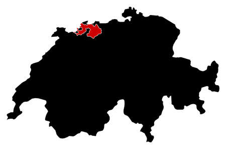 swizerland: Map of Swizerland in black, Basel-Landschaft is highlighted in red.
