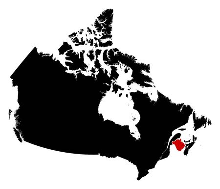 nb: Map of Canada in black, New Brunswick is highlighted in red. Illustration