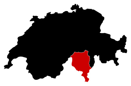 Map of Swizerland in black, Ticino is highlighted in red.