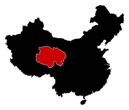 prc: Map of China in black, Qinghai is highlighted in red. Illustration