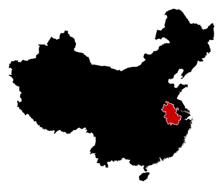 anhui: Map of China in black, Anhui is highlighted in red.