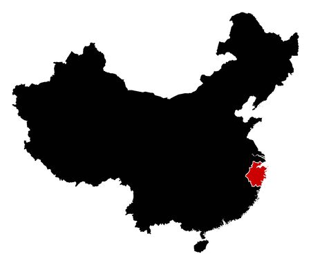 people's republic of china: Map of China in black, Zhejiang is highlighted in red.