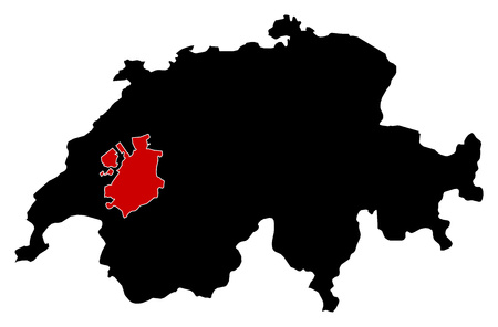 frontiers: Map of Swizerland in black, Fribourg is highlighted in red. Illustration