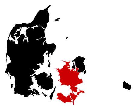 danmark: Map of Danmark in black, Zealand is highlighted in red.