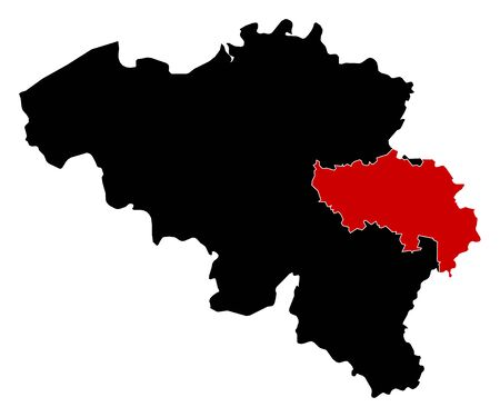 wallonie: Map of Belgium in black, Li?ge is highlighted in red. Illustration