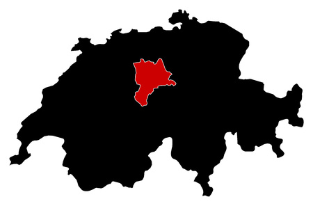 highlighted: Map of Swizerland in black, Lucerne is highlighted in red.