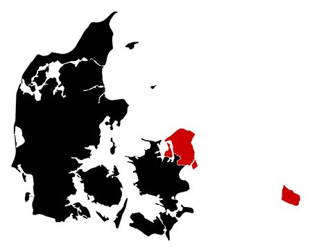 danmark: Map of Danmark in black, Capital Region is highlighted in red. Illustration