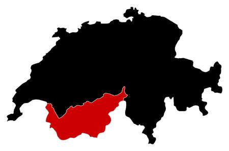 schweiz: Map of Swizerland in black, Valais is highlighted in red.