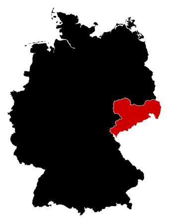 federal republic of germany: Map of Germany in black, Saxony is highlighted in red.