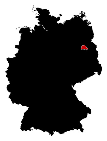 federal republic of germany: Map of Germany in black, Berlin is highlighted in red.