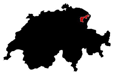 schweiz: Map of Swizerland in black, Appenzell Ausserrhoden is highlighted in red.