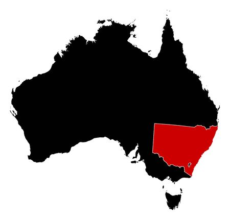 australie: Map of Australia in black, New South Wales is highlighted in red. Illustration