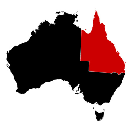 queensland: Map of Australia in black, Queensland is highlighted in red.