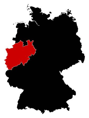 federal republic of germany: Map of Germany in black, North Rhine-Westphalia is highlighted in red.