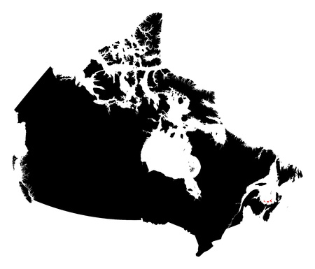 edward: Map of Canada in black, Prince Edward Island is highlighted in red. Illustration