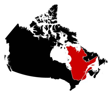 quebec: Map of Canada in black, Quebec is highlighted in red.