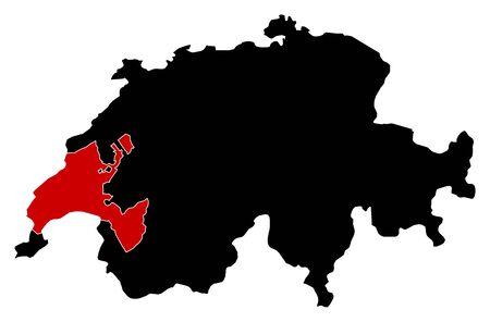 schweiz: Map of Swizerland in black, Vaud is highlighted in red.