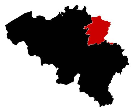 Map of Belgium in black, Limburg is highlighted in red. Illustration