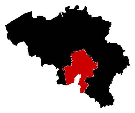 belgie: Map of Belgium in black, Namur is highlighted in red.