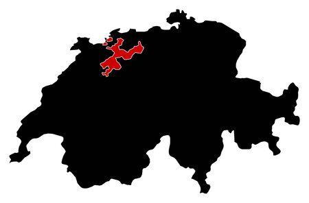 schweiz: Map of Swizerland in black, Soleure is highlighted in red.