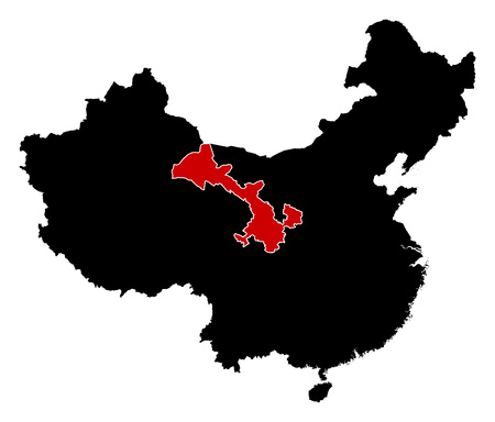 highlighted: Map of China in black, Gansu is highlighted in red. Illustration