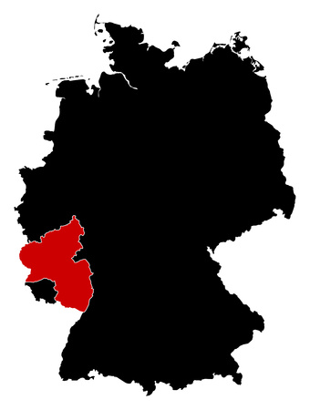 Map of Germany in black, Rhineland-Palatinate is highlighted in red.