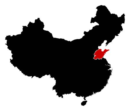 highlighted: Map of China in black, Shandong is highlighted in red.