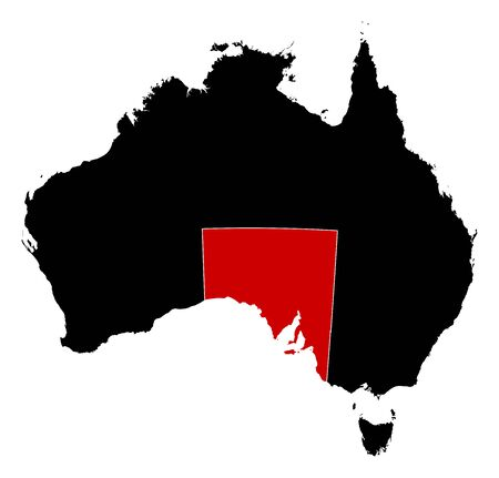 australie: Map of Australia in black, South Australia is highlighted in red.